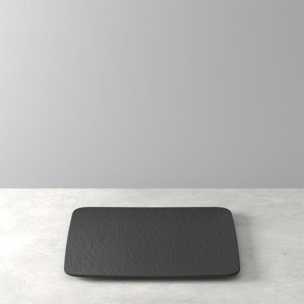 Manufacture Rock plat à servir/assiette gourmet carré(e), noir(e)/gris(e), 32,5x32,5x1,5cm, , large
