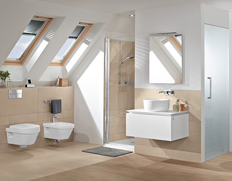 les salles de bains mansard es utiliser l espace intelligemment villeroy boch. Black Bedroom Furniture Sets. Home Design Ideas